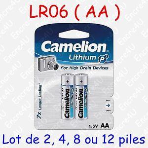 Pile Photo Lithium AA LR6 FR6 LR06 R6 R06 FR06 L91 1,5V : lot de 2, 4, 8 ou 12