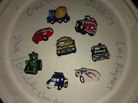 Cars,Trucks,Police & More Lot Of 8 Crocs Shoe,Bracelet,Lace Charms,Jibbitz