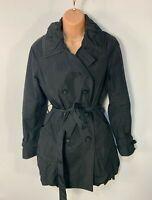 WOMENS BETTY JACKSON BLACK SIZE UK 12 SMART/CASUAL LIGHT TRENCH COAT RAIN MAC
