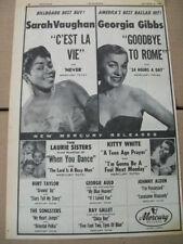 Sarah Vaughan Georgia Gibbs The Laurie Sisters Kitty White 1955 Ad- Mercury