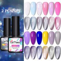 LEMOOC Rainbow Jelly UV LED Nail Gel Polish Soak off Varnish Base Top Color Coat
