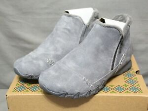 SKECHERS BIKER Womens zip up flats gray EARTHY CHIC ankle boot size 8 Wide New