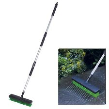 Heavy Duty Extendable Water Jet Hose Garden Brush Broom Outdoor Patio Path Clean