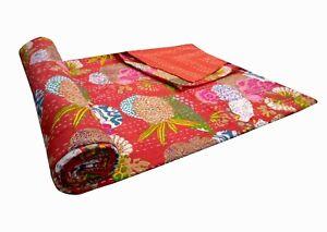 Indian Floral Bedspread Quilts Blanket Throw Bedding Kantha Bed Cover Vintage