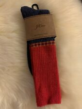 NWT J.Crew Men's Color-block Heavyweight Wool Blend Socks (Navy, Red/ As Shown)