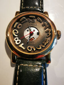 Ladies Watch, Citron, Funky face, Vintage, Dali, unusual design, leather strap