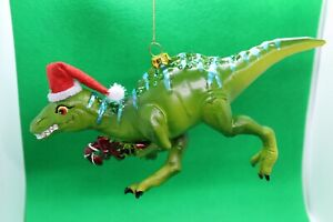 Glass Dinosaur Raptor Christmas Tree Bauble Decoration with Santa Hat