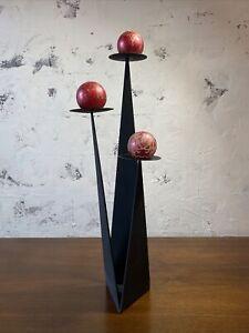 Paul Evan's Brutalist Forged Steel Sculptural Floor 3 Arm Candle Holder