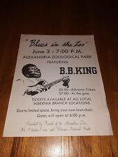 B.B. KING at ALEXANDRIA ZOOLOGICAL PARK Louisiana 17 x 22 Original Poster