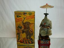 VINTAGE ROSKO STEELE JAPAN 821 CIRCUS ELEPHANT + BLOWING BALL - BATTERY - RARE