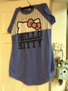 HELLO KITTY BLUE JUNIOR WOMEN NIGHTGOWN SIZE S SMALL