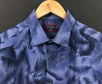 UNTUCKIT Men's Blue Short Sleeve Palm Floral Hawaiian Camp Shirt sz S Small