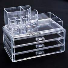 Acrylic Clear Cosmetic Make Up Case Holder Organizer 3 Drawers Tabletop W/grid