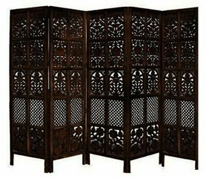 ANTIQUE STYLE HANDMADE WOODEN PARTITION SCREEN / ROOM DIVIDER, 5 PANELS-BROWN