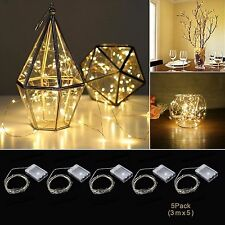 5x 30 LED Battery Micro Rice Wire Copper Fairy String Lights Party Decor 3m