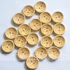 20pcs Brown Wooden Star Round Buttons Lot 20mm Craft/Kids Sewing DIY Embellish