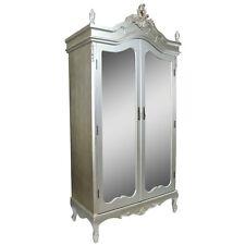 Shabby Chic Rococo Style French Silver Mahogany Double Armoire Mirror Door