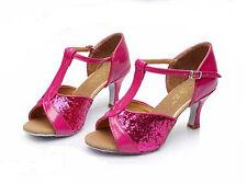 Women Girl lady's Ballroom Tango Latin Dance Dancing Shoes heeled Salsa 5 Color