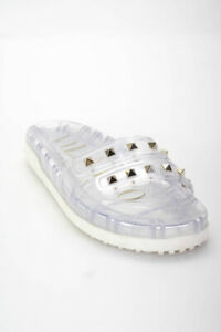 Valentino  Womens Slip On Studded Sandals Clear Size 37 7