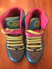 Osiris Size 9 Sneakers Bronx Slim Girls High Tops PInk Aqua Green Shoes