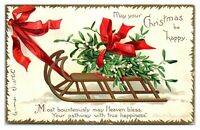 May Your Christmas be Happy Mistletoe Sleigh Clapsaddle Signed Postcard *6J37