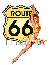 Sexy Route 66 Single Pinup Girl Waterslide Decal Sticker for guitars & More S151