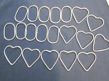 20 wire wrapped large silver steel heart & oval findings.make a pendant, jewelry