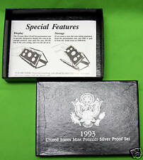 1993-s Premier SILVER Proof Set. Coins in Mint Made Custom Display Box