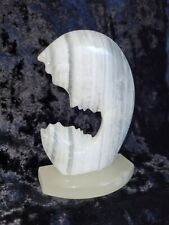 White Veined Marble Mother and Child Adoration Carved Stone Sculpture 2 1/2