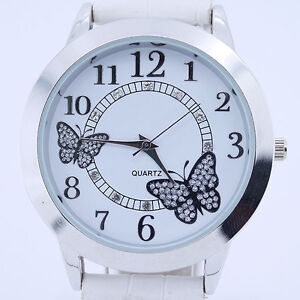 Fashion Butterfly Leather Bracelet Lady Women Watch Girls Quartz Wrist Watch U16