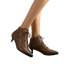 Retro Kitten Heel Lace Up Women's Pointy Toe OL Office Ankle Boots Outdoor New D