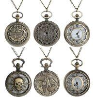 Vintage Steampunk Retro Bronze Pocket Watch Quartz Pendant Necklace Chain Watch