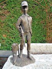 statue en bronze le chasseur et son chien , très jolie scène de chasse bronze
