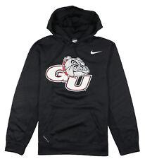 NIKE Gonzaga Bulldogs Logo Print Hoodie Small Black Pullover Sweater Therma-FIT
