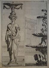 GRAVURE XVII° CARIATIDE BAROQUE ORNEMENT LOUIS XIV JEAN LE PAUTRE 1618-1682 i