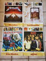 Posters Dbl Sided Set of 4 Metallica Floyd Jimi Maiden ACDC Pantera Halen Zepp