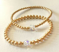 Gold Beaded w/ Swarovski Crystal Bracelet 14k Stretch or Clasp
