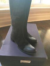 NIB PRADA MILANO BLACK SUEDE LEATHER COMFORTABLE RIDING KNEE BOOTS SHOES US  9.5