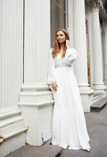 French Connection Cari Boho Balloon Sleeve Maxi Long Bridal Wedding Dress 8 - 12