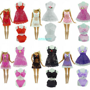 18Pcs= 6 Set Home Wear Pajamas Dress Night Bra Underwear Clothes For 12 in. Doll