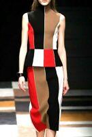 Salvatore Ferragamo Colorblock Stripe Dress Top Skirt Set US 4 6 IT 40 42  SMALL