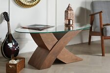 "MILANO Designer Oval ""X""  Brown Wood Veneer & Glass Coffee Table Modern"