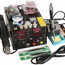 4In1 220V 909D+ Rework Soldering Station Hot Heat Air Rifle USB Power Supply Kit