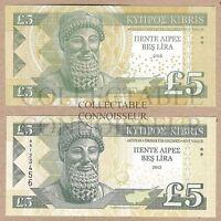 Cyprus 5 Pound £5 2013 UNC SPECIMEN Test Note Banknote Set - 2 pcs - Lighthouse