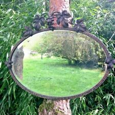 Antique Mirror Iron Forge Year 1930, Theme the Vine, Art Deco Vintage