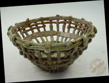 """7"""" Artist Folkart Picket WEAVE Fruit BASKET Pottery BOWL Arts + Crafts SIGNED"""