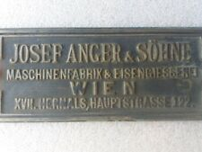 ANTIQUE JOSEF ANGER & SÖHNE BRASS/BRONZE PLATE SIGN