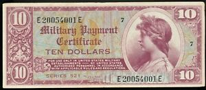 Series 521 $10 MPC Military Payment Certificate Nice VF