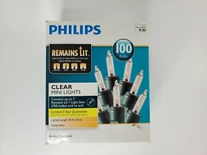 Philips 100 Mini Lights CLEAR Indoor Outdoor Green Wire Remains Lit Technology