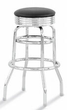 Chrome Circle Swivel Metal Counter Stool  with Black Seat